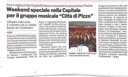 """Weekend speciale nella Capitale per il Gruppo musicale """"Citta di Pizzo"""""""