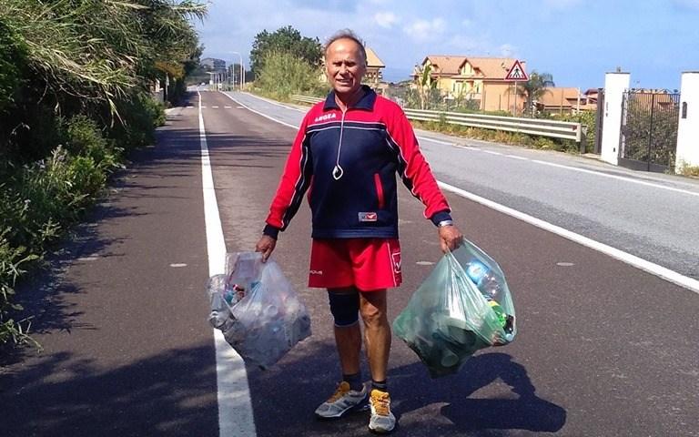 Pizzo, la storia di Ermete che da anni pulisce la strada dove fa jogging