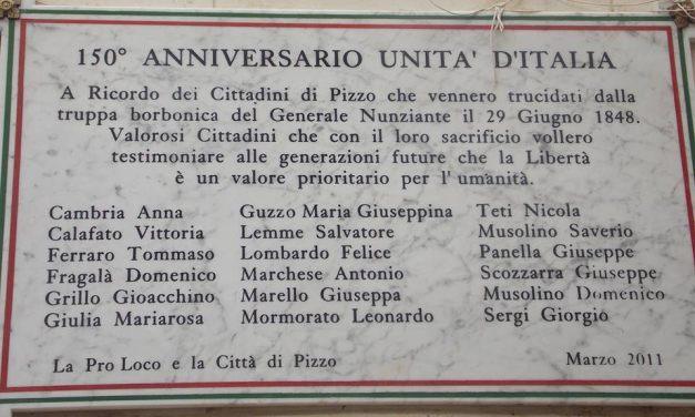 Targa ai martiri del Sacco di Pizzo del 29/6/1848