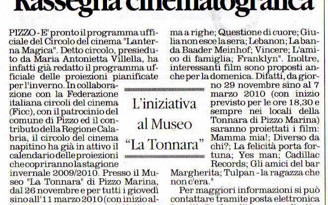 RASSEGNA CINEMATOGRAFICA DELLA LANTERNA MAGICA DEL 2009