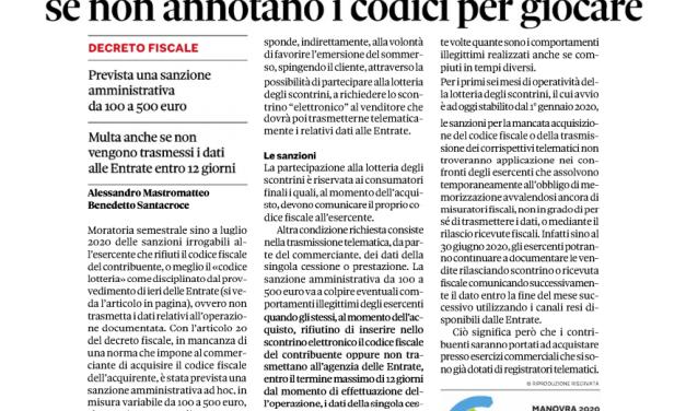 LOTTERIA SCONTRINI CON IL SOLO INSERIMENTO DEL CODICE FISCALE
