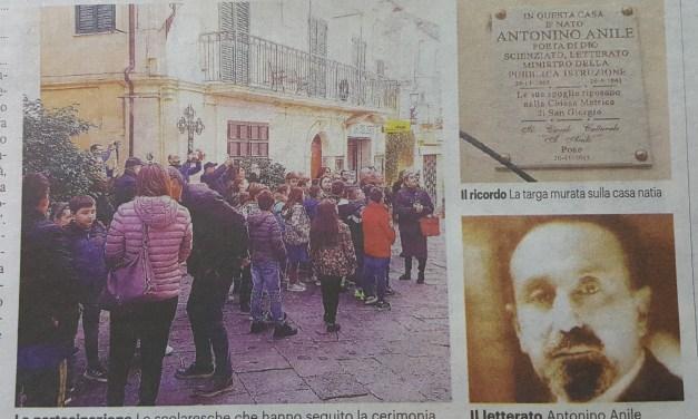 Pizzo celebra uno dei suoi figli piu' illustri. Dedicata una targa ad Antonino Anile
