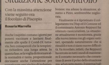 Pizzo 7/1/2021 COVID19 Solo 7 casi sotto controllo