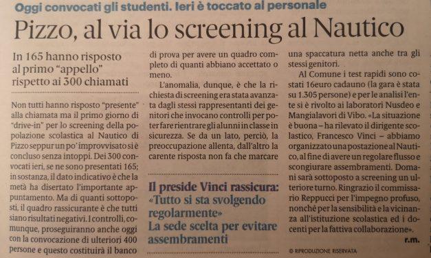 Pizzo, al via lo screening al Nautico