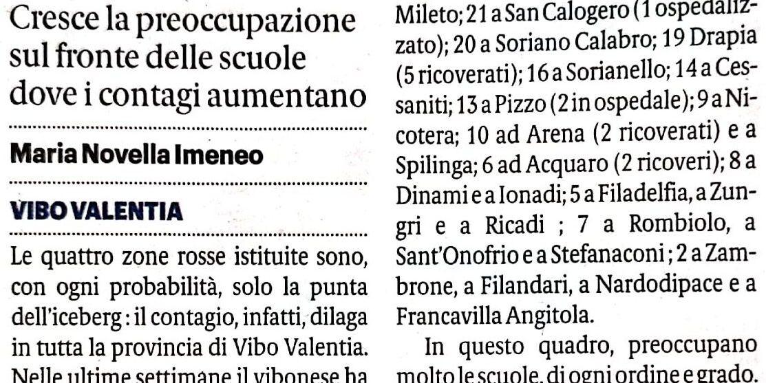 A Pizzo 13 i contagi, mentre nel Vibonese registrati 458 positivi e 24 ricoveri