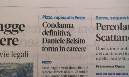 Pizzo, rapina alle poste. Condanna definitiva per Daniele Belsito