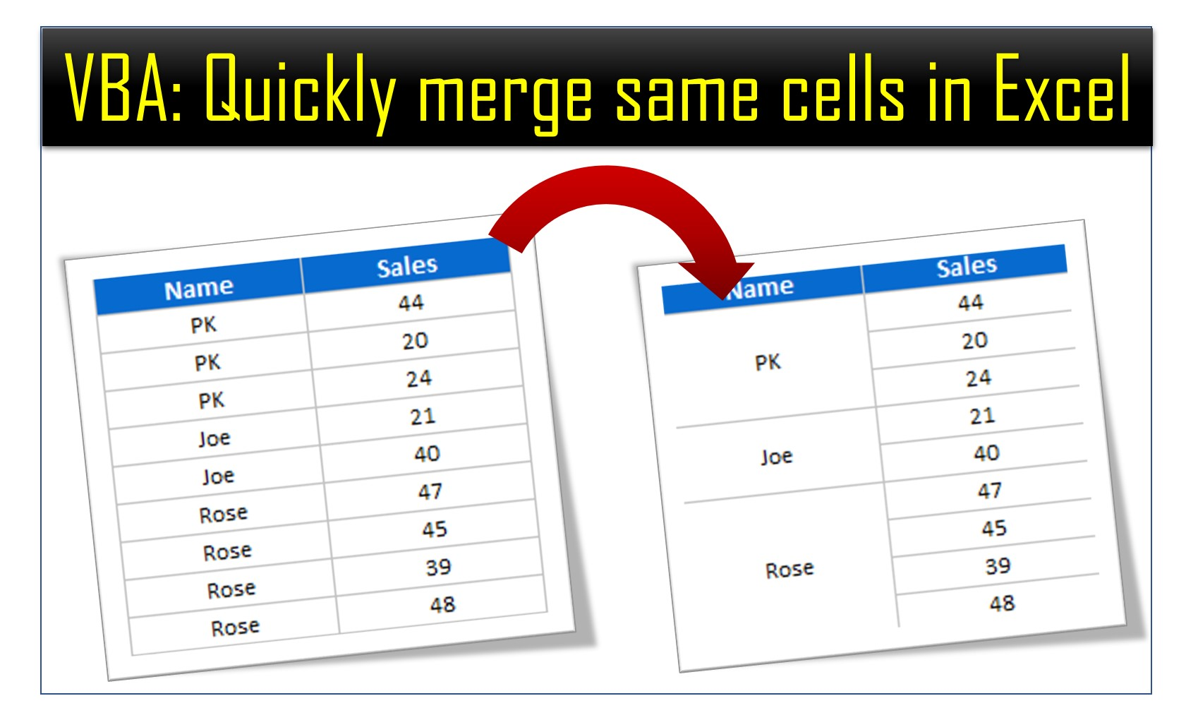Vba Quickly Merge Cells With Same Value In Excel