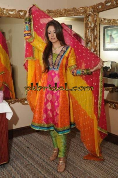 Multi Color Mehndi Wear Jamawar Frock