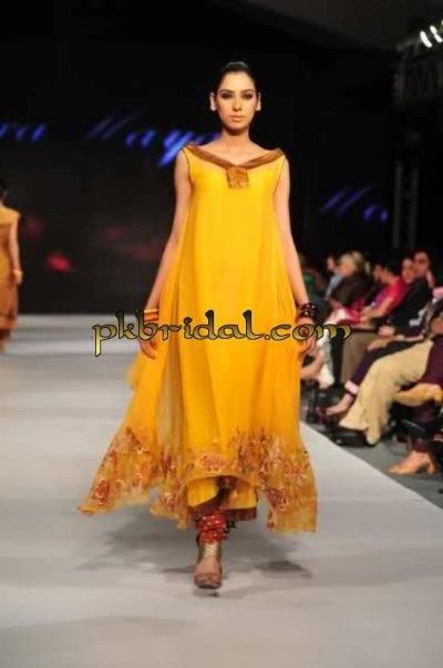 Pakistani Designer Wear Yellow Mehndi Dress