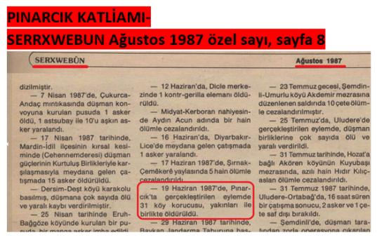 Ağustos 1987 sayılı Pkk yayını Pınarcık katliamını Pkk'nın yaptığını söylüyor.