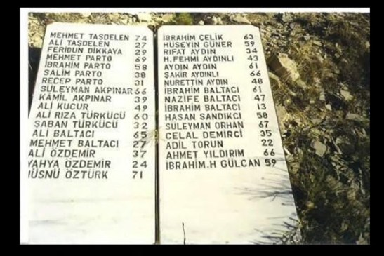 Başbağlar'da  kattledilenlerin isimleri