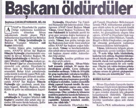 Şirvan Katliamı milliyet gazetesi haberi