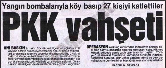 pkk'nın çevrimli köyü katliamı