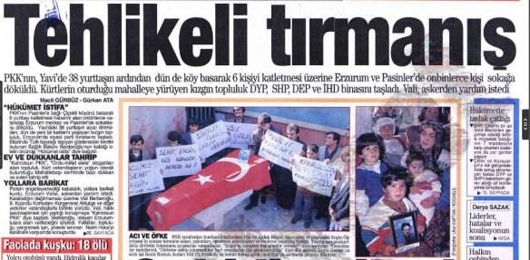 1993 erzurum yavi ve çiçekli köyü katliamı sonrası türkiye