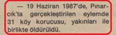 """""""19th June, 1987, in the operation carried out in Pinarcik 31 village rangers with their immediate relatives were assassinated. """""""