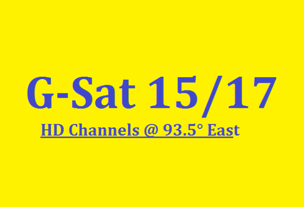 G-Sat 15/17 HD Channels List with Frequency @ 93 5° East