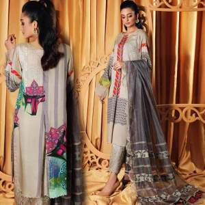 3 PC Printed Linen Dress With Wool Shawl