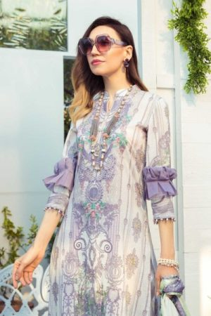 3PC Lawn Embroidered Suit with Chiffon Dubbata