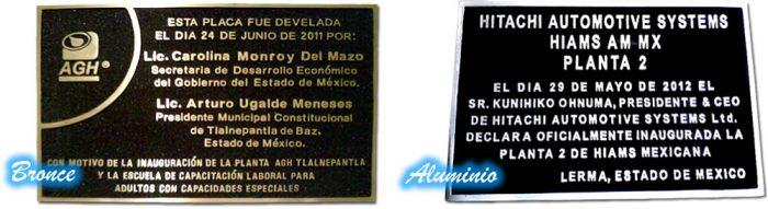 placas fundidas de bronce y aluminio