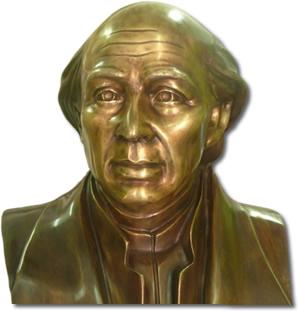 busto de bronce patinado