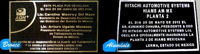 Placas de bronce y placas de aluminio