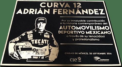 placa conmemorativa fundida en bronce con cliche