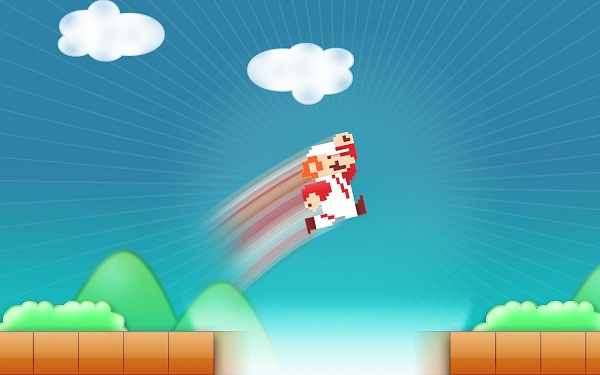 Super Mario avec un Portal gun