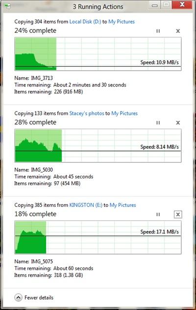 Graphiques de vitesse de copie