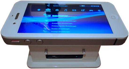 Un iPhone 4 géant qui fait table basse et téléviseur