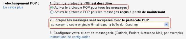 Configuration Pop Gmail