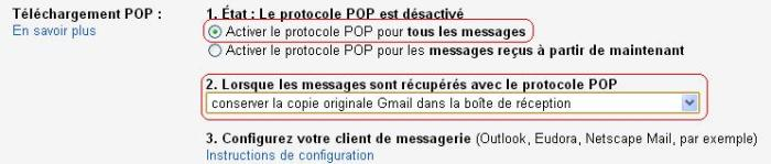 Configuration Pop Gmail