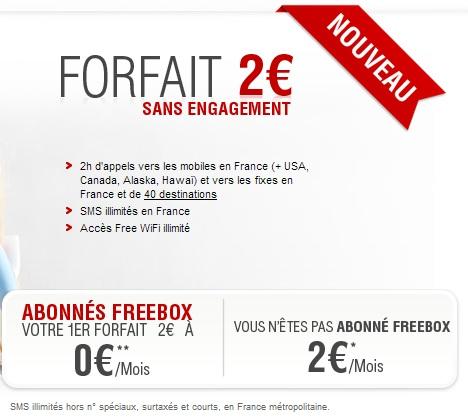 Mise à jour du forfait free à 2€ : 2h et SMS illimités