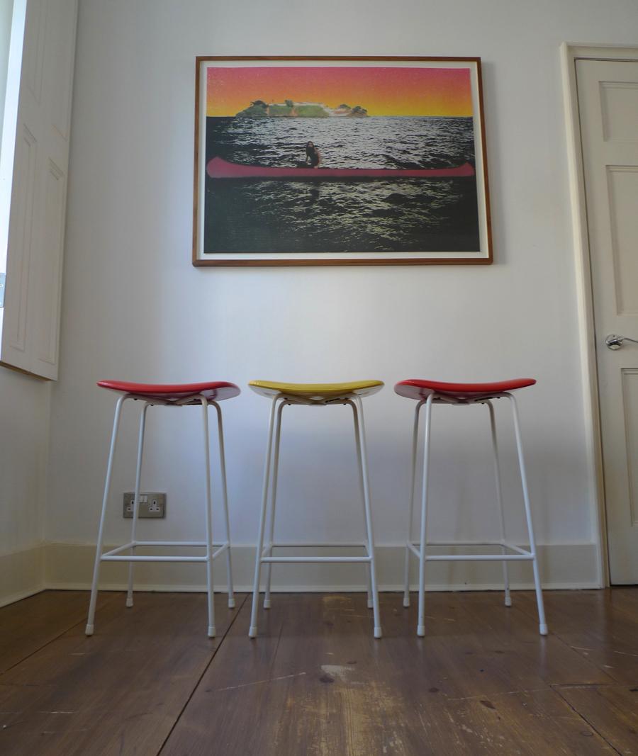 Three Vintage Frank Guille Program Stools By Kandya