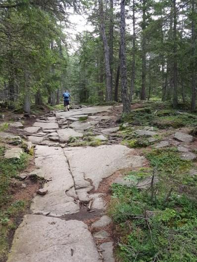bergauf über große Steinplatten auf dem Weg