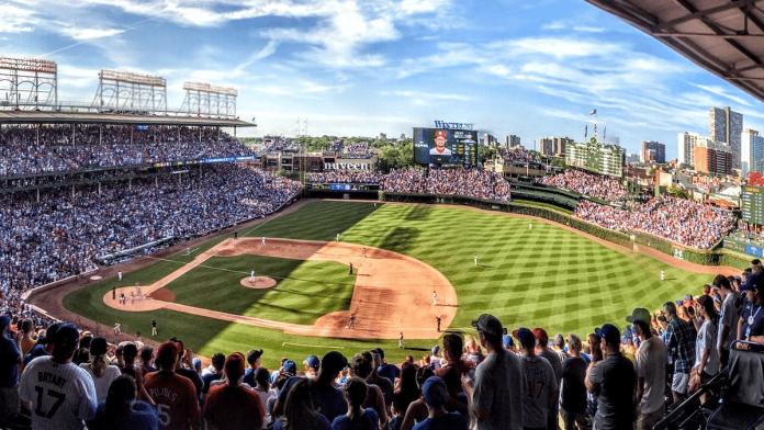 Baseball stadium with crowd