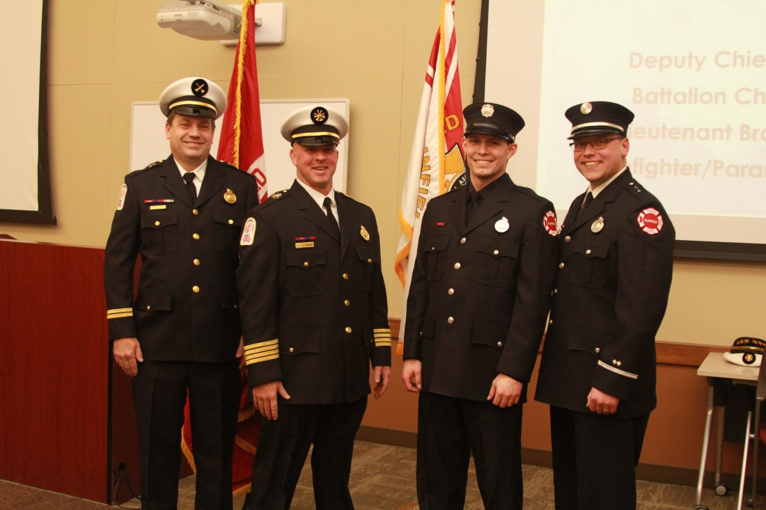 Pictured left to right: Battalion Chief Charles Kraft, Deputy Chief Vito Bonomo III, Firefigher/Paramedic Kevin Teper & Lieutenant Brandon Vainowski