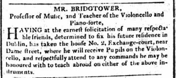 Teaching advertisement for Frederic Bridgtower