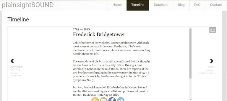 F Bridgetower timeline