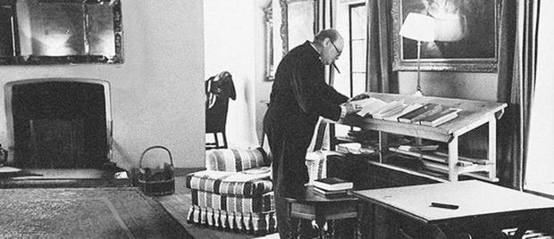 Winston Churchill studying at his standing desk