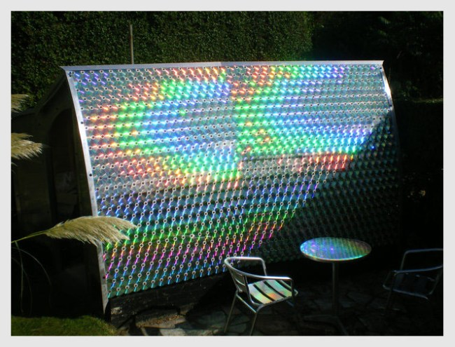 Shed made out of recycled cds