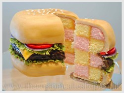 Burgercake, looks like a hamburger on the outside
