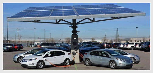 Public solar car port for charging electric cars.