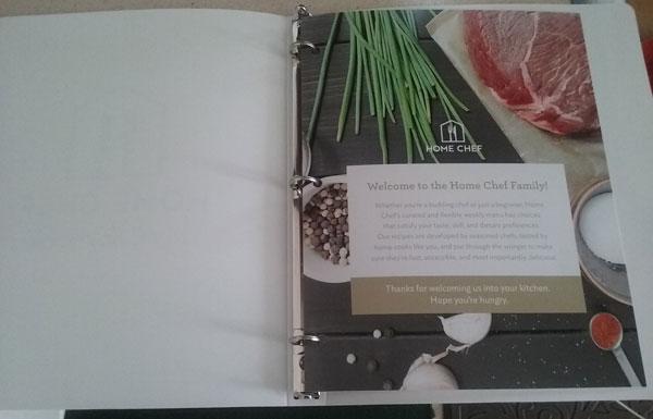 Home Chef menu binder
