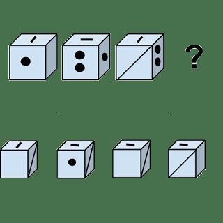 Welcher Würfel passt zur Abbildung oben? (Würfel Nr.5)