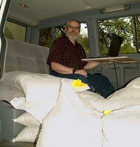 Feed intrudes into every aspect of life. Here's me sharing my VW van with half a ton of feed.