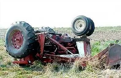 rolled over tractor
