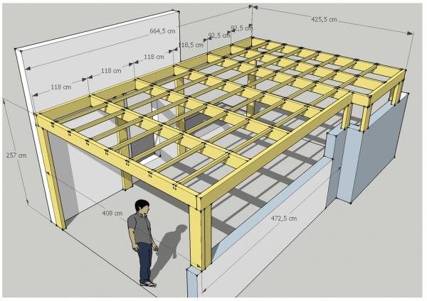 Abri voiture plan carport à toit plat pour 2 voitures