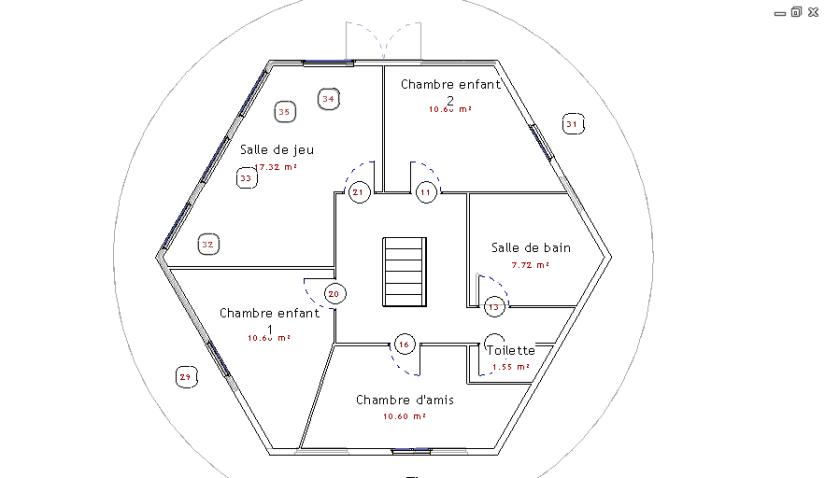 Plan maison hexagonale