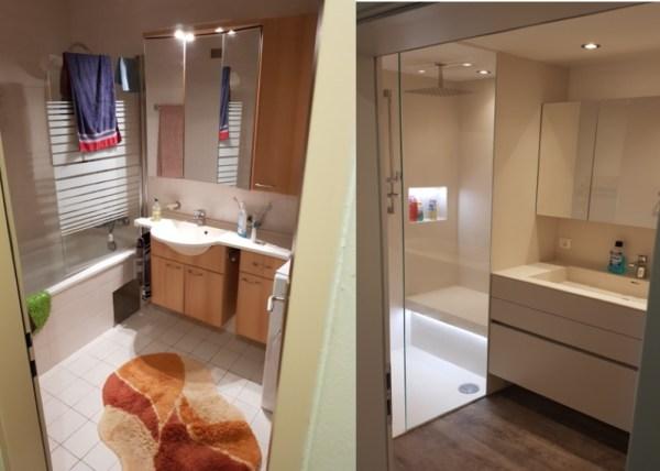 Badezimmer Renovierung vorher nachher