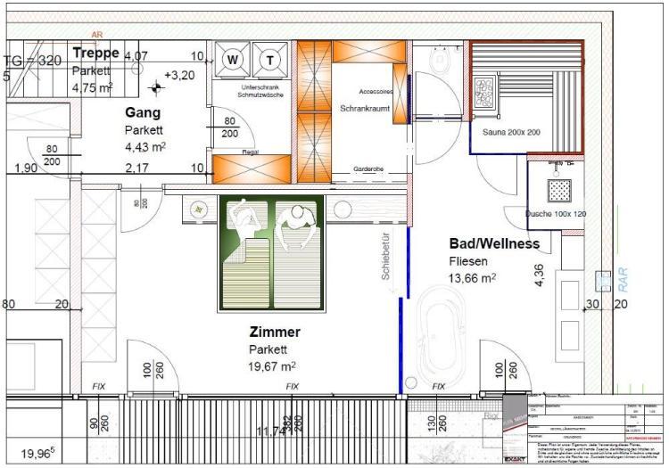 Schlafzimmer Kombination mit Badezimmer, Wellness, Sauna und Schrankraum
